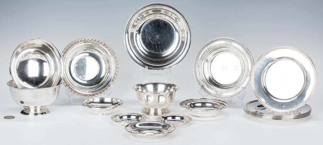 17 pc Sterling Holloware incl.  Bread Plates and Bowls