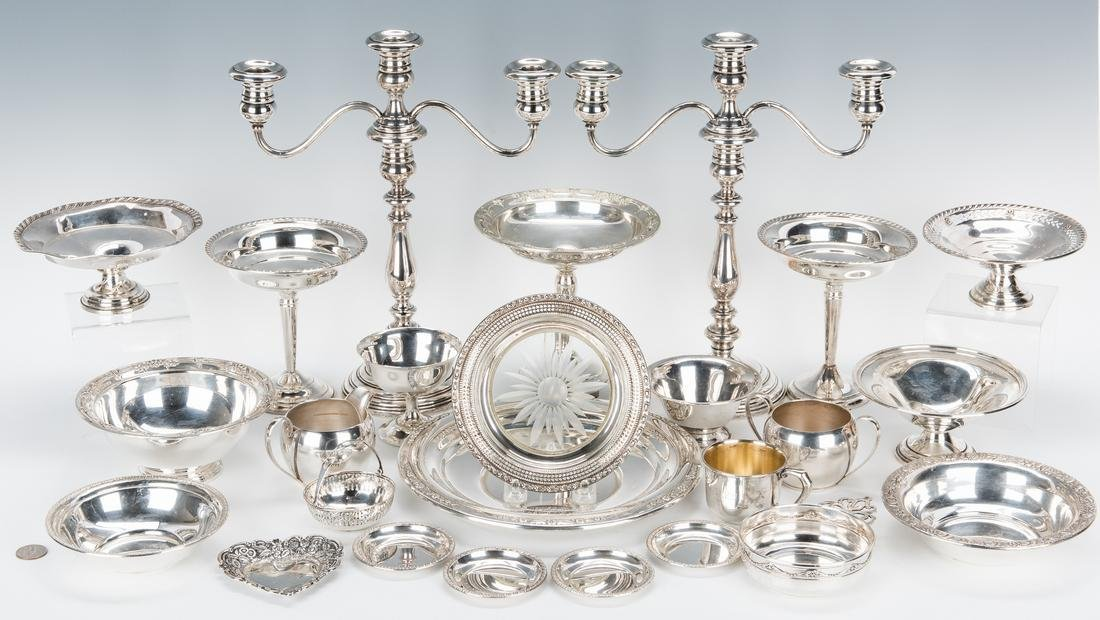 25 pcs. Sterling Holloware incl. Candlesticks, Dishes