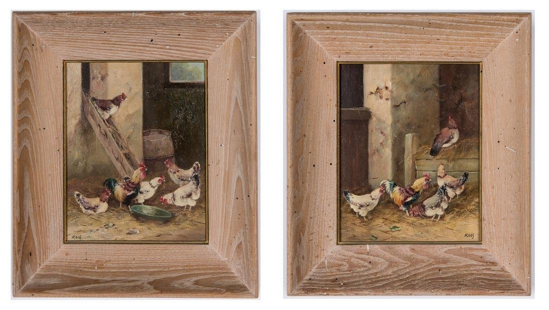 2 Chicken Paintings Signed Rolf