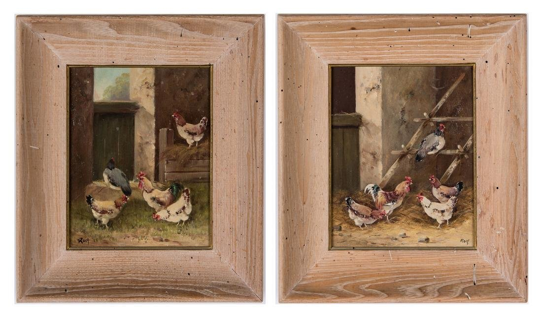 2 Chicken Farm Scene Paintings signed Rolf
