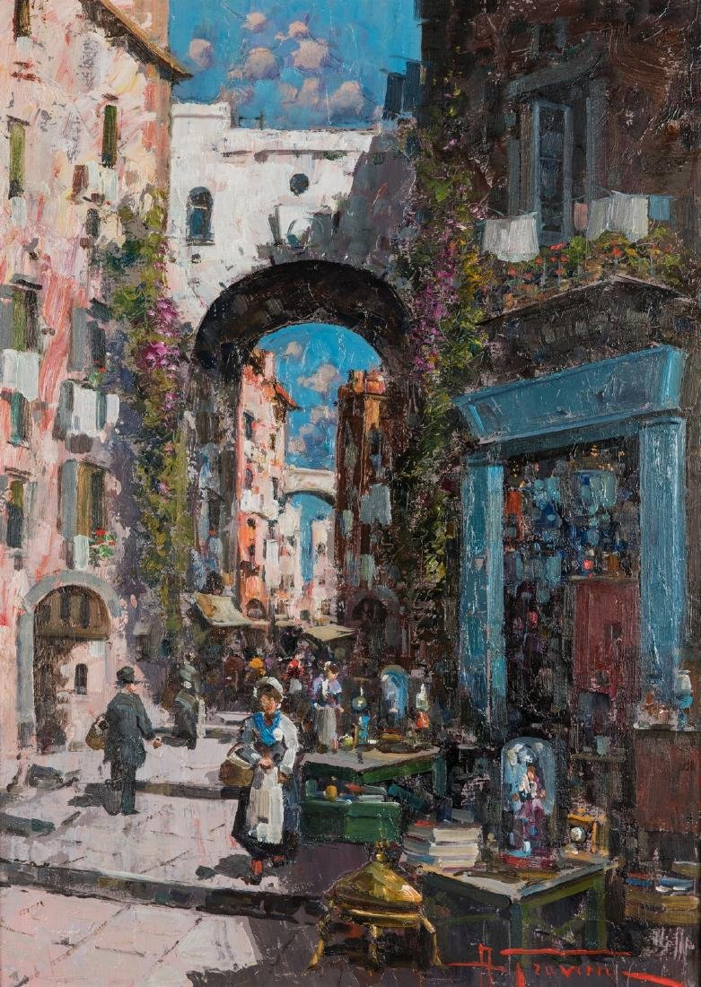 Signed Italian Street Scene Oil on Canvas