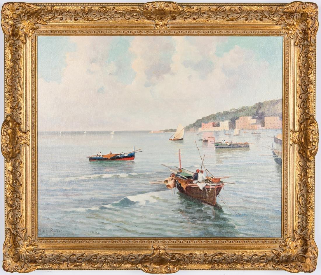 Franco Ruocco O/C, Italian Harbor Scene