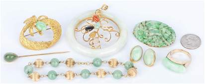 7 Gold and Nephrite Jade Jewelry items