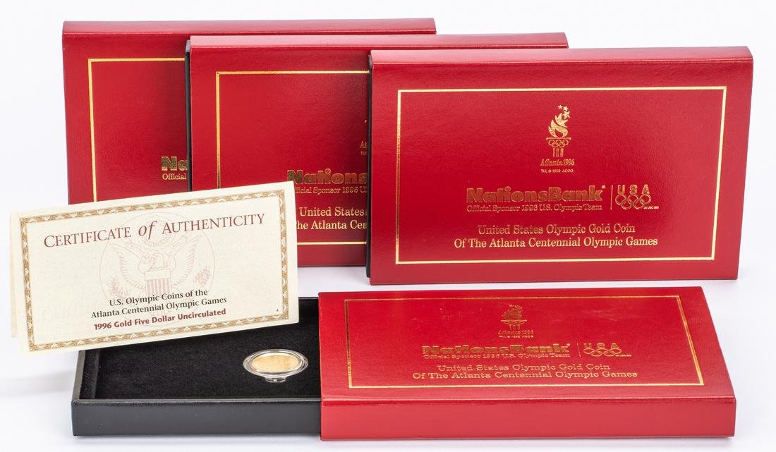 4 Boxed 1996 Olympic $5 Gold Coins