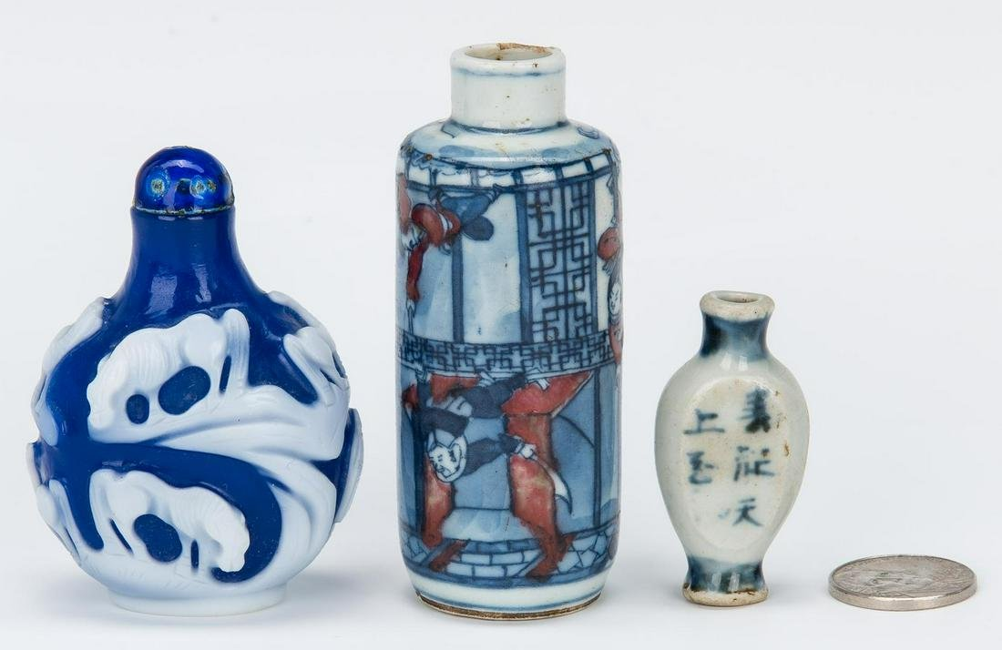 3 Chinese Snuff Bottles incl. Peking Glass