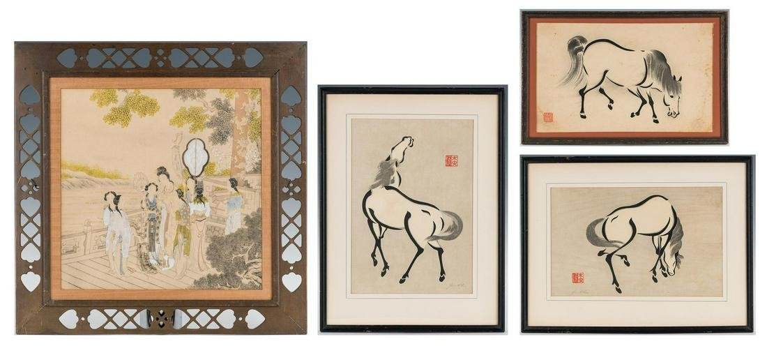 4 Asian Works of Art, incl. Courtier Painting, Horse