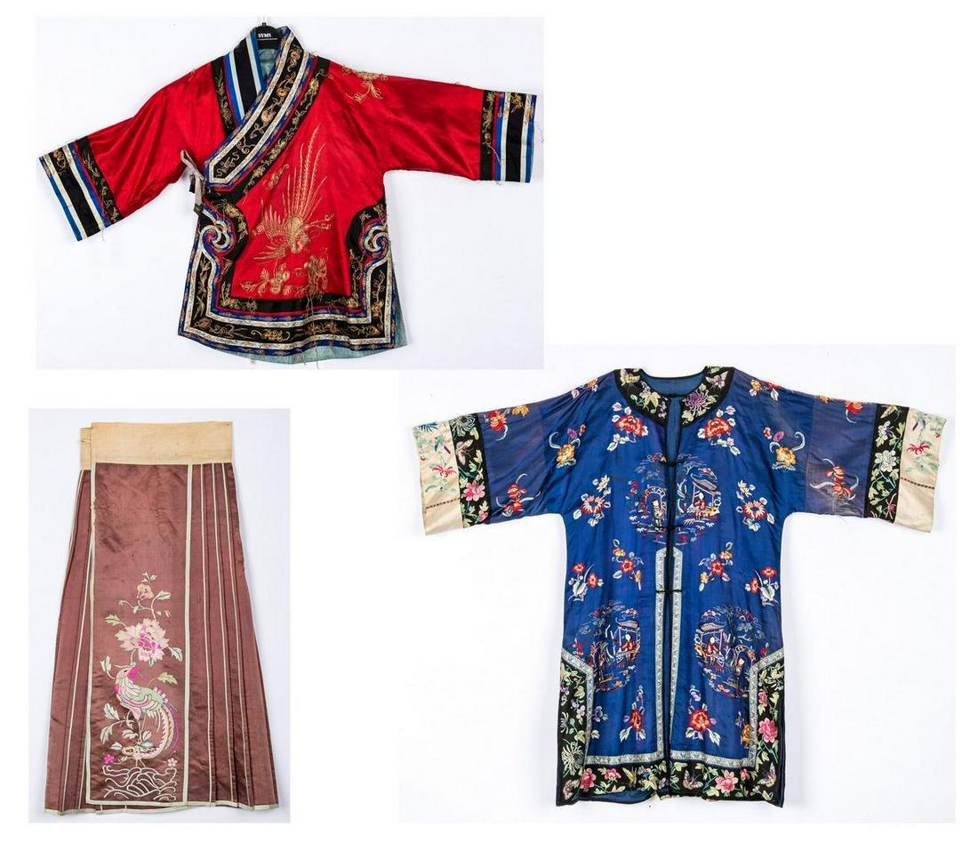 2 Asian Kimono & Skirt, Early 20th Cent.