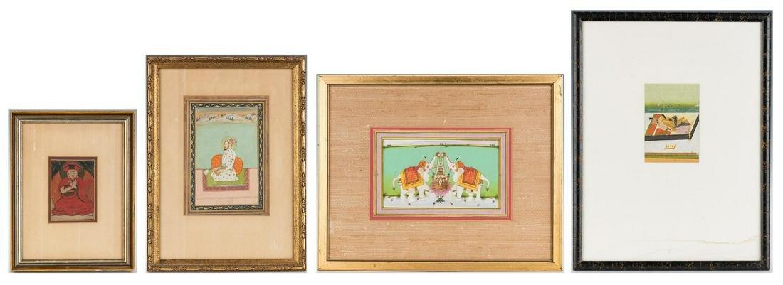 4 Asian Works of Art, incl. thangka fragment/Indian