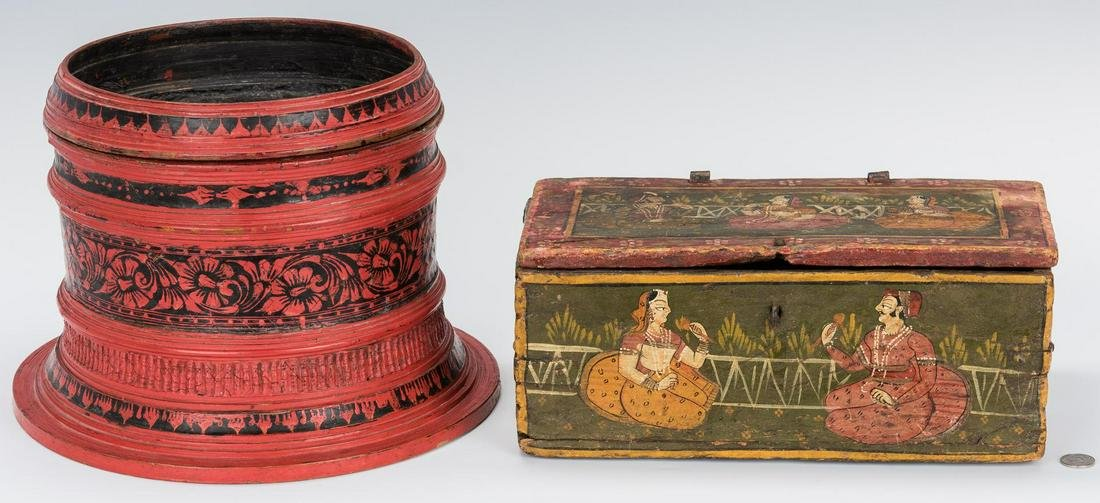 Indian Painted Box and Red Lacquer Basket Stand
