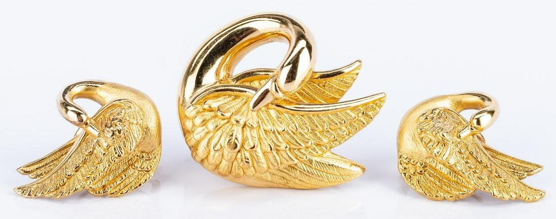 18k French made Swan Pin and Earrings Set