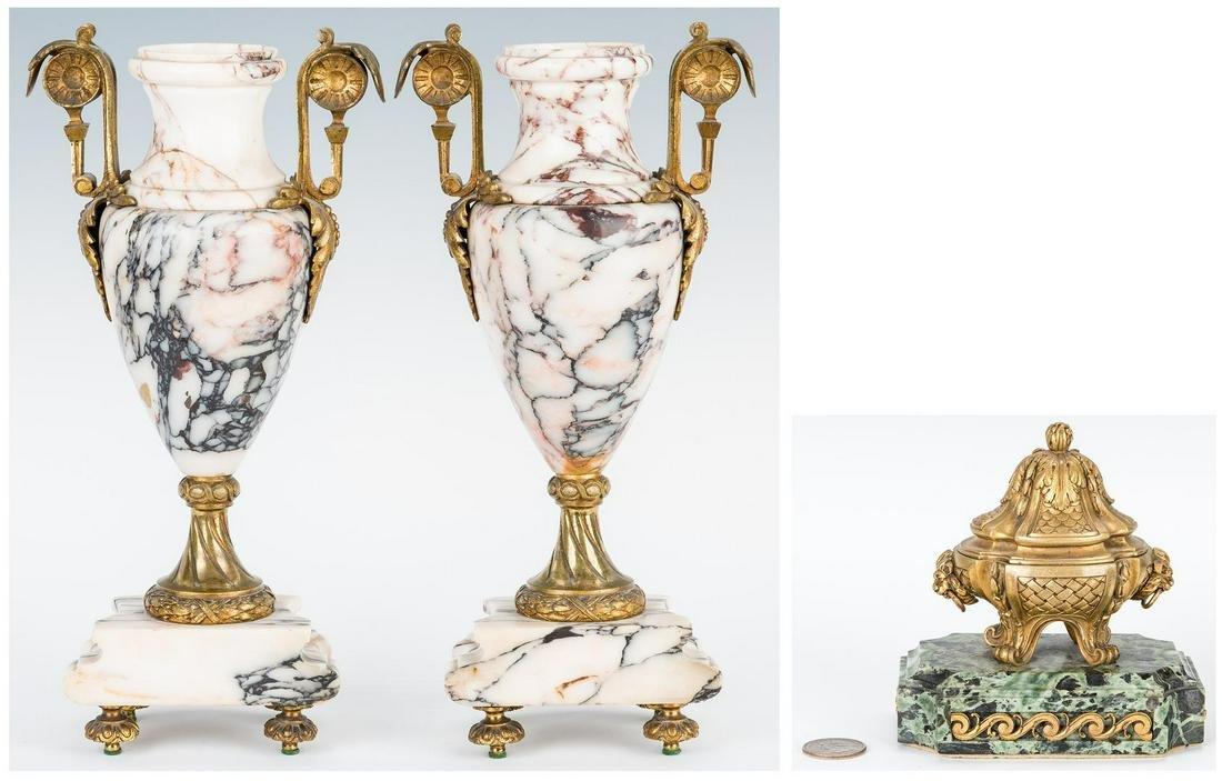 Pair Marble Gilt Bronze Urns & Gilt Bronze Inkwell