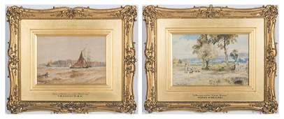 19th C Watercolor Landscape and Seascape by T Hardy