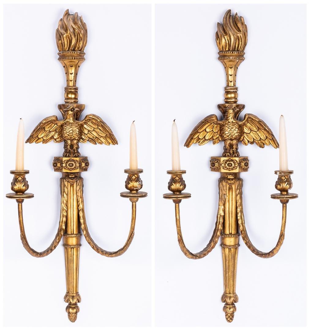 Pr. Neoclassical Giltwood Eagle Sconces