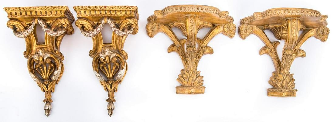 2 Prs. French Louis XVI Style Gilt Wall Brackets