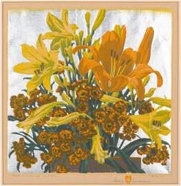 Gustave Baumann Colored Woodcut,  From Hillside Gardens