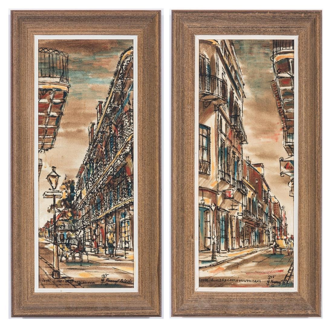 Pair of Franz Weiss New Orleans Street Scene Paintings