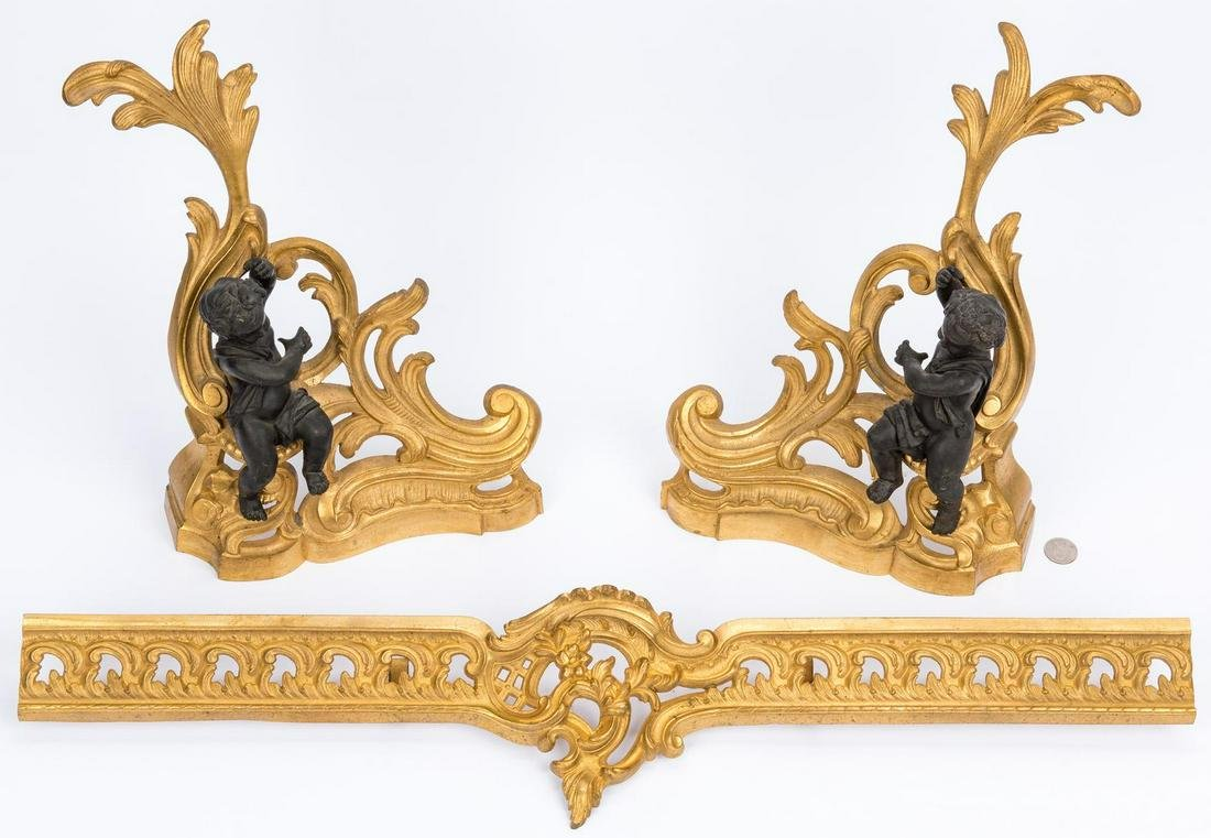French Gilt Bronze Fireplace Fender & Chenets