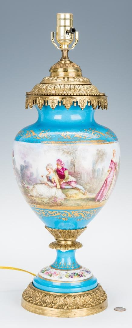 Sevres Style Gilt Bronze Mounted Lamp