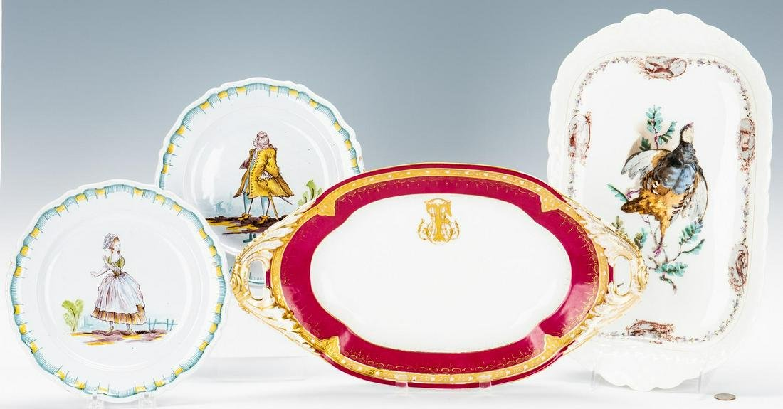 4 French Ceramic Items, incl. Honore Savy, Guerin,