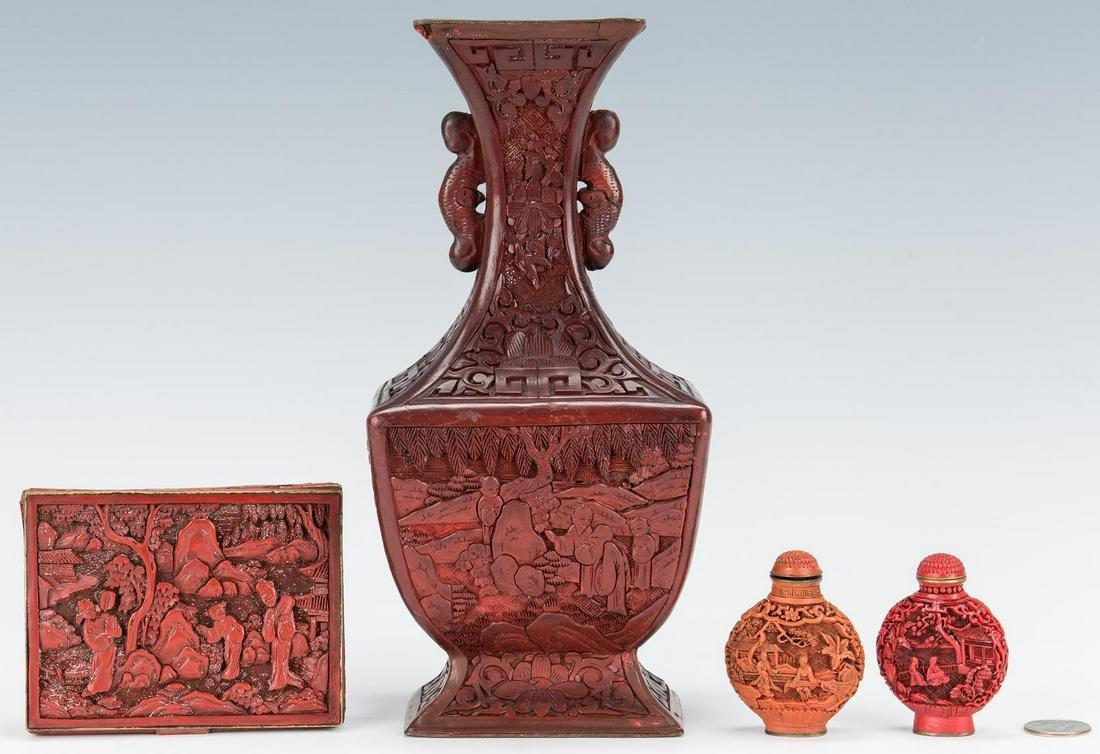 Cinnabar Vase, Box, Snuff Bottles, 4 items
