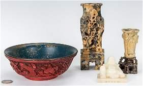 3 Carved Hardstone Items & 1 Cinnabar Bowl