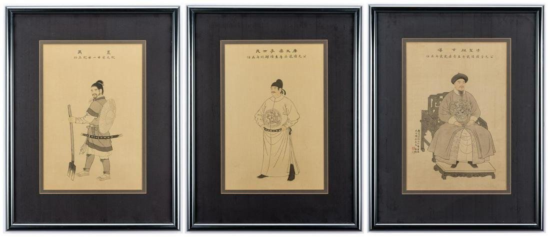 3 Chinese Ancestor Ink & Watercolor Portraits