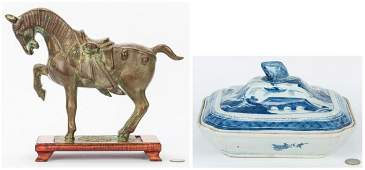 Chinese Tang Style Bronze Horse & Canton Porcelain