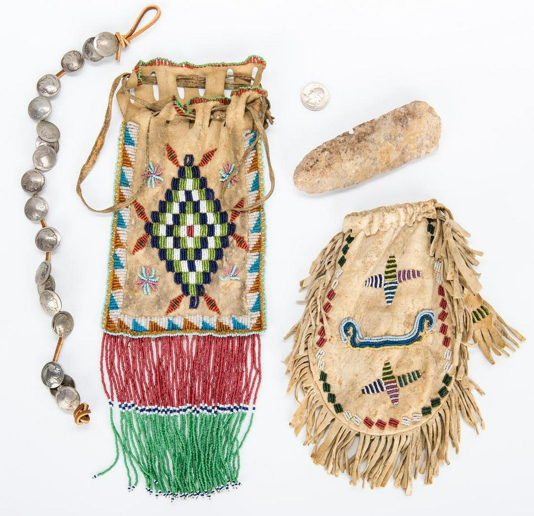 2 Native American Beaded Pouches, 1 Buffalo Nickel
