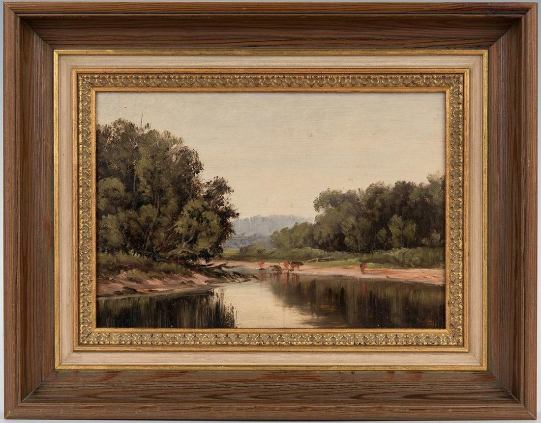 American School Impressionistic O/B Landscape Painting