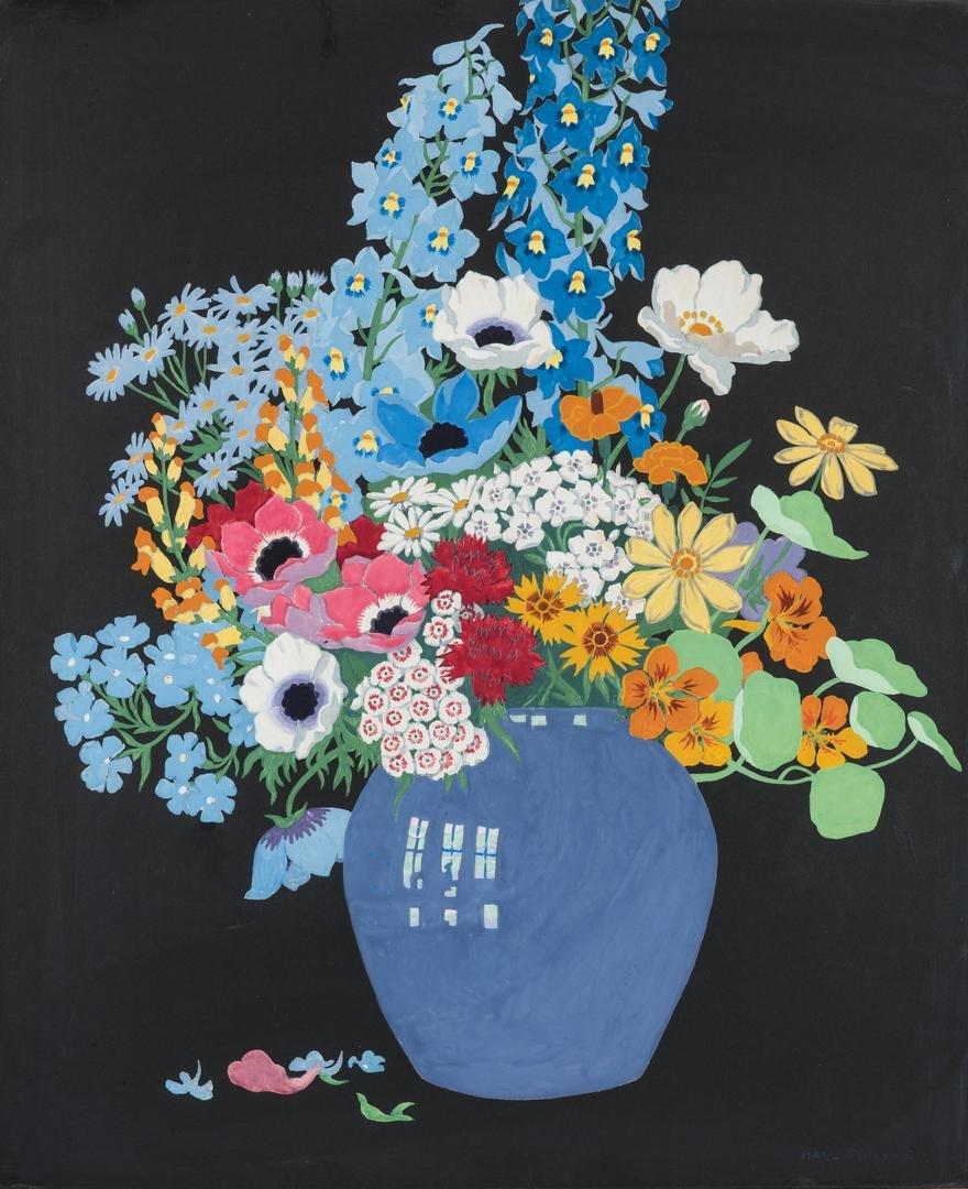 John Hall Thorpe Color Woodcut, Vase of Flowers