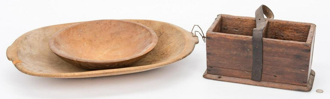 3 Southern Wooden Items, Dough Bowls & Tool Box