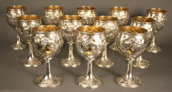 214: Set of 12 Gorham sterling silver goblets gilt wash