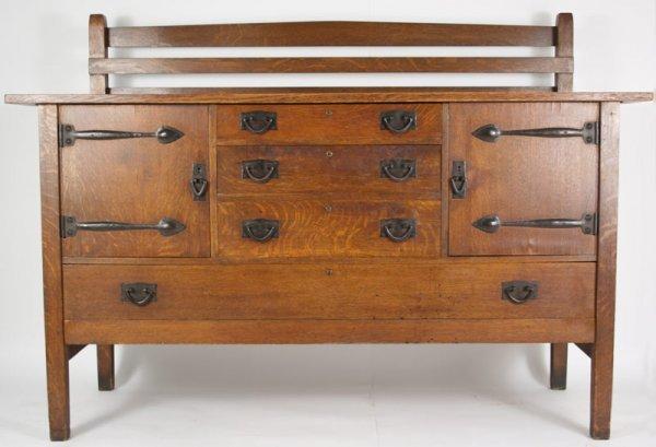 342: Gustav Stickley oak sideboard, number 814.