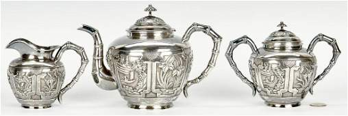 3 Pc Chinese Export Silver Tea Service