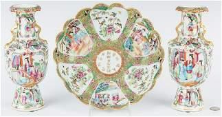 Pr. Chinese Export Porcelain Vases & Bowl, 3 pcs.
