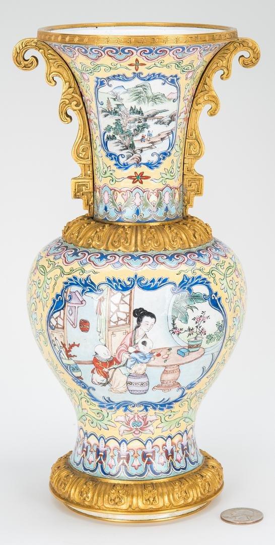Canton Enamel Vase with Gilt Mounts