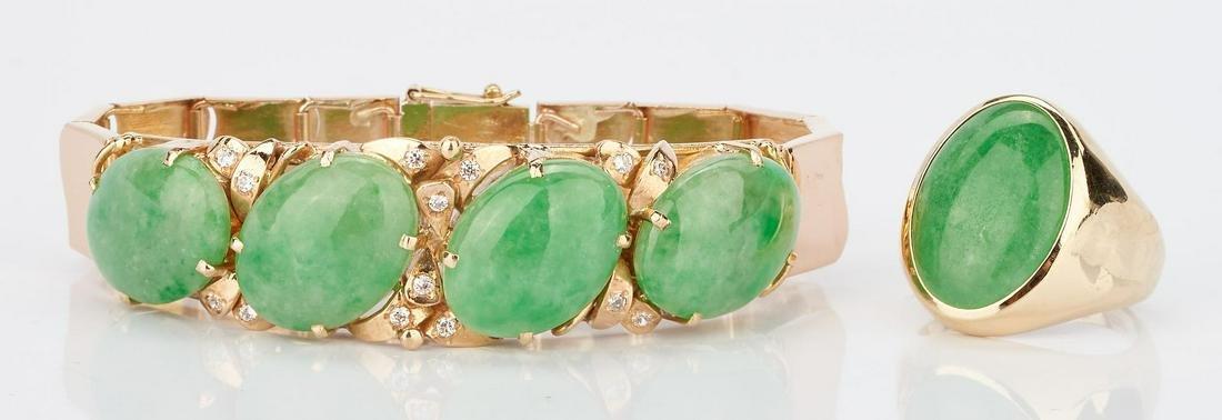 14K Jade Bracelet and 14K Jade Ring