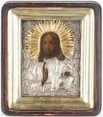 Framed Russian Icon w Silver  Gilt Oklad