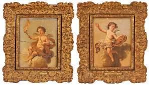 Attr. Christian W.E. Dietrich, 2 Cherub Paintings