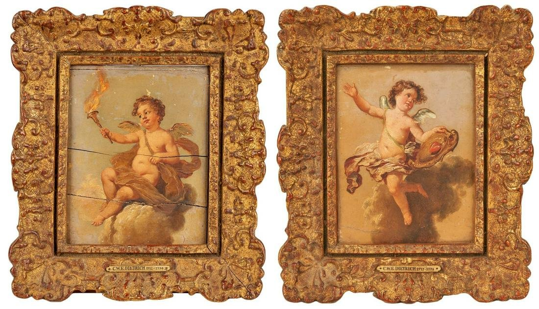 Attr. Christian W.E. Dietrich, 2 Cherub Paintings