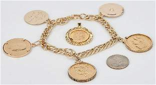 Gold Coin Bracelet incl 5 Liberty  Gold Peso