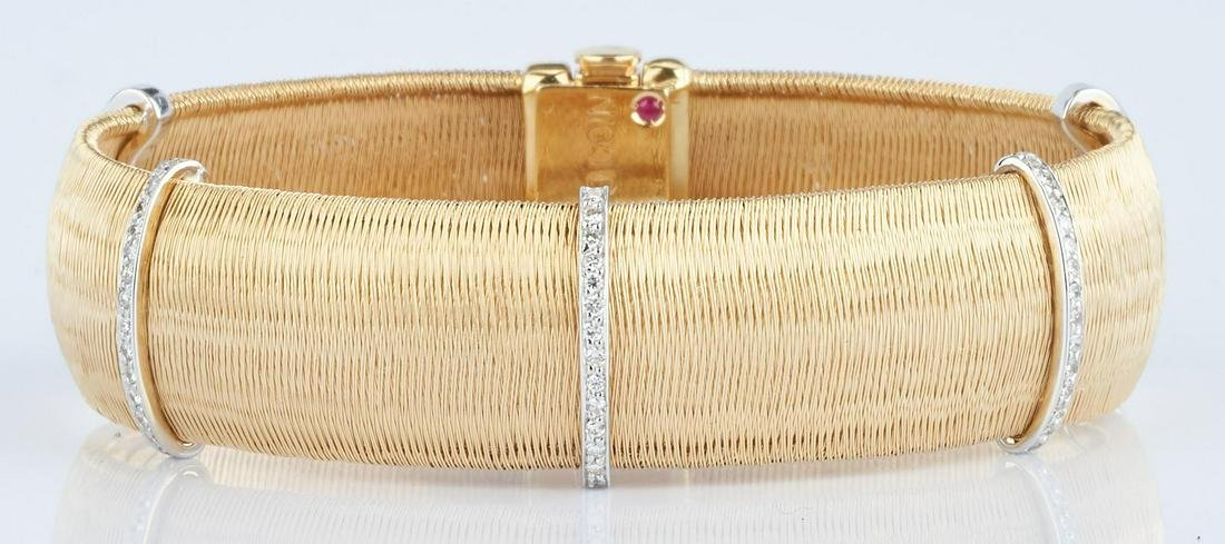 18K Roberto Coin Mesh & Diamond Bracelet
