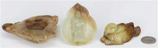 3 Chinese Jade Items, incl. Buddha, Brush Pot & Bird