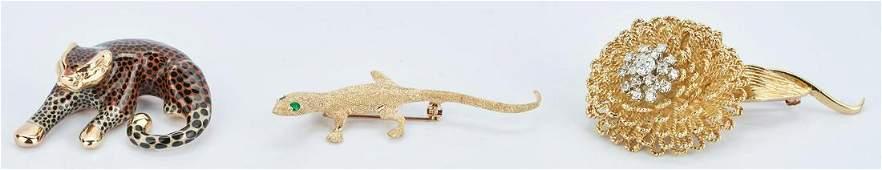 18K Flower and Diamond Brooch 14K Lizard Brooch and