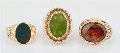 3 Men's 14K Gold Rings w/ Stones