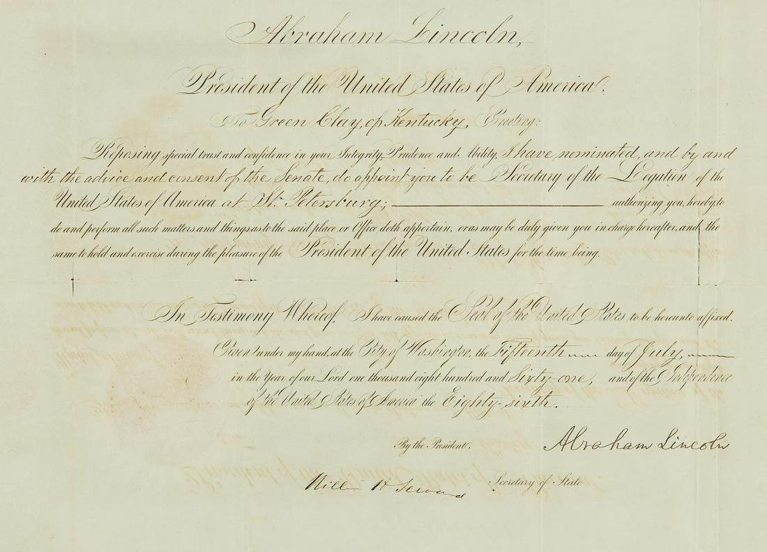 Abraham Lincoln signed 1861 Appointment, Green Clay of