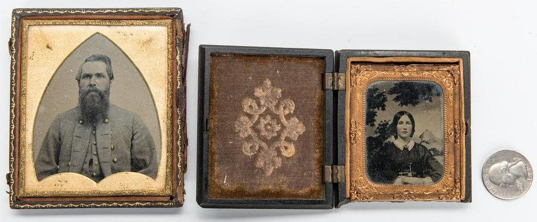 2 Ambrotypes, incl. Confederate Soldier