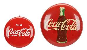 2 CocaCola Button Advertising Signs