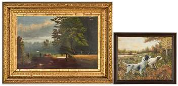 2 American School Landscape Paintings Cattle  Dogs
