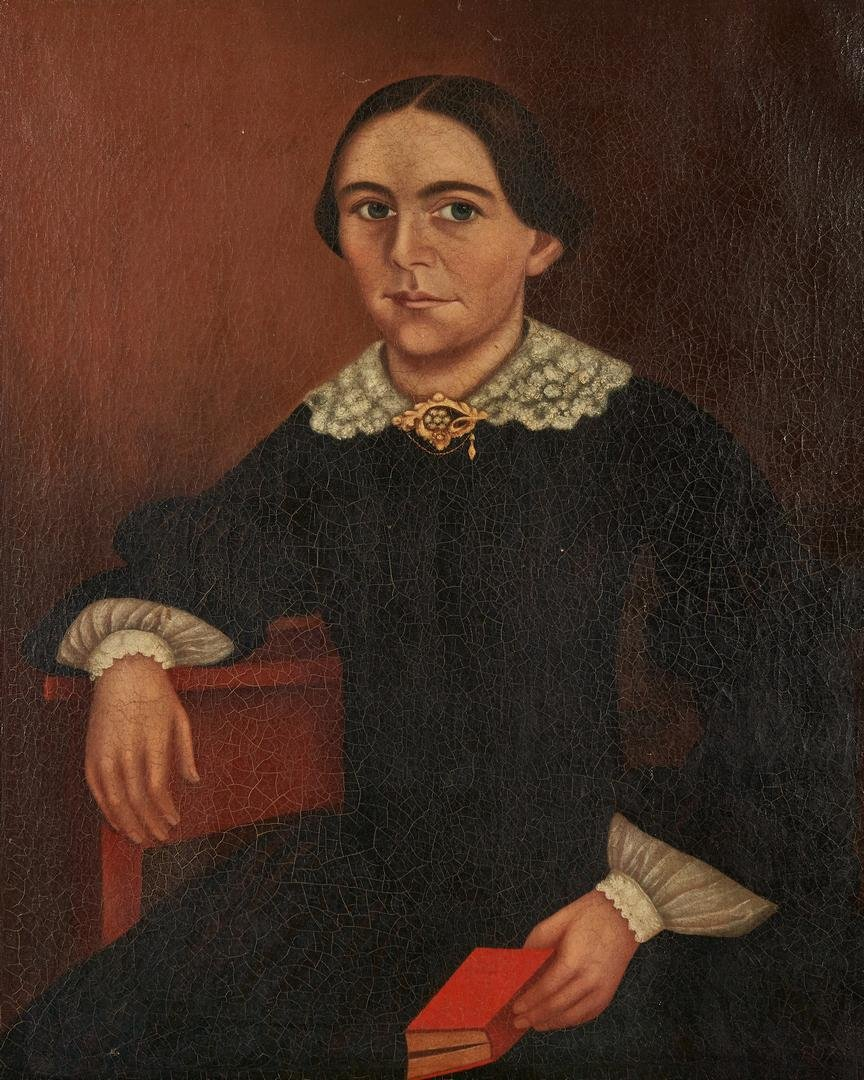 American School O/C Painting, Woman with Book